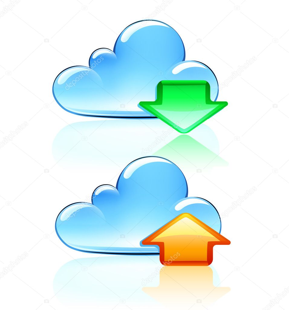 Vector illustration of Cloud Hosting Icons  Stock Vector #8202646