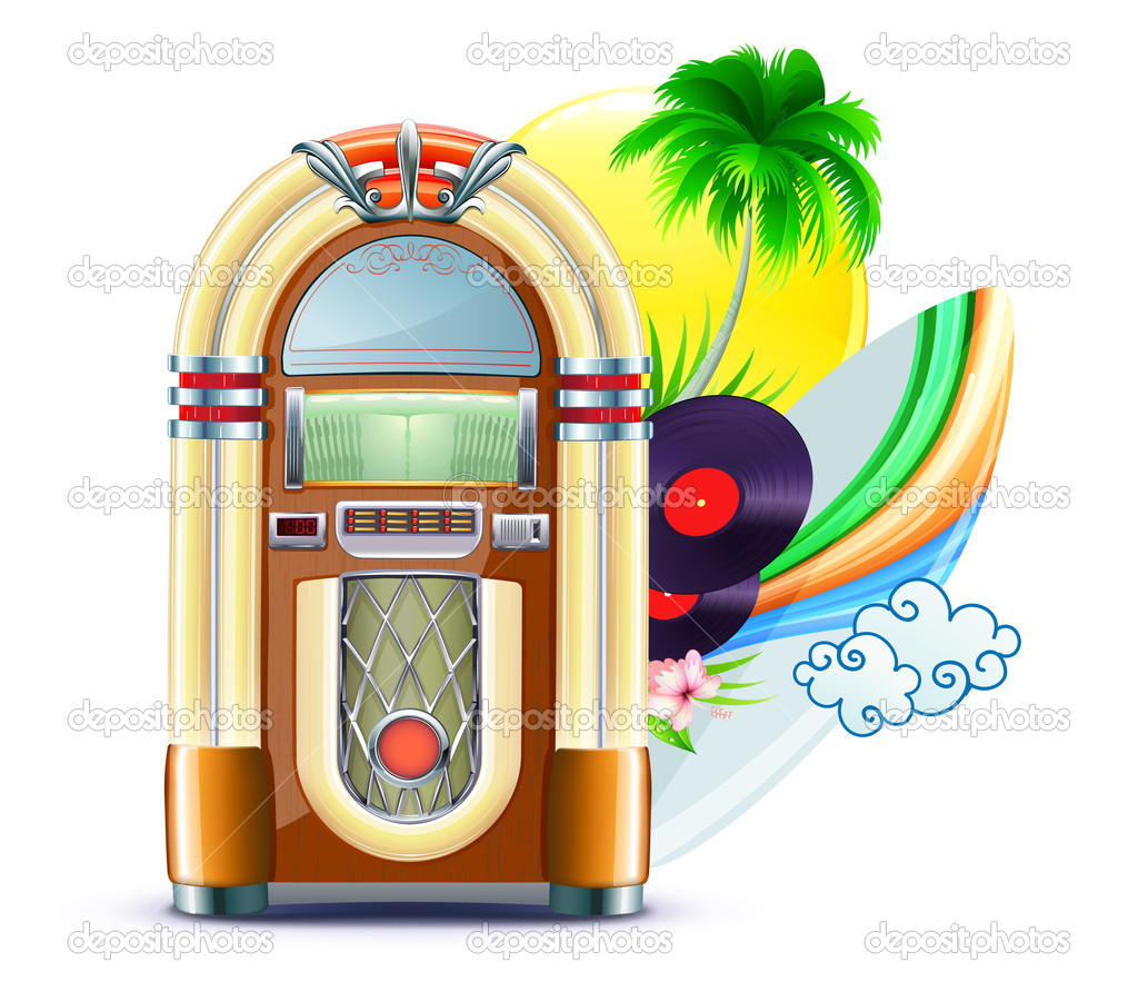 Vector illustration of funky summer music background with palm trees, jukeboxe, vinyle , hibiscus flowers, surfboard and yellow sun — Stock Vector #8250307