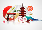 Decorative Traditional Japanese background — Vetor de Stock