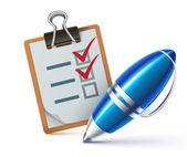 Checklist on a clipboard — Stock Vector