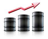 Three black metal oil barrels — Stock Vector
