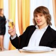 Young handsome msitting in restaurant — Stock Photo #10028621