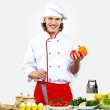 Portrait of a young cook in uniform — Stock Photo #10028680