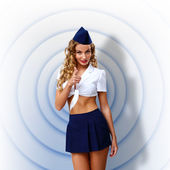 Woman retro style with stewardess cap — Stock Photo