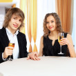 Stock Photo: Couple in restaurant with shampagne