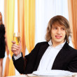 Young handsome man sitting in restaurant — Stock Photo #10065085