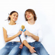 Young couple with paint brushes together — Stock Photo #10065427