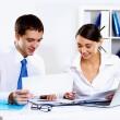 Stock Photo: Two young business collegue in office