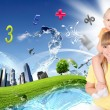 Collage with children and parents on green grass - Foto de Stock