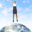Young woman jumping and our planet earth — Stock Photo #10067157