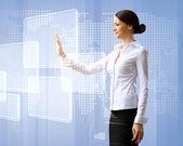 Technologies de l'entreprise femme et écran tactile — Photo