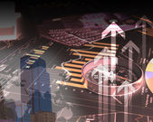 FInancial diagrams, charts and graphs — Stock Photo