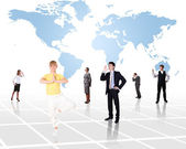 World map and social network — Stock Photo