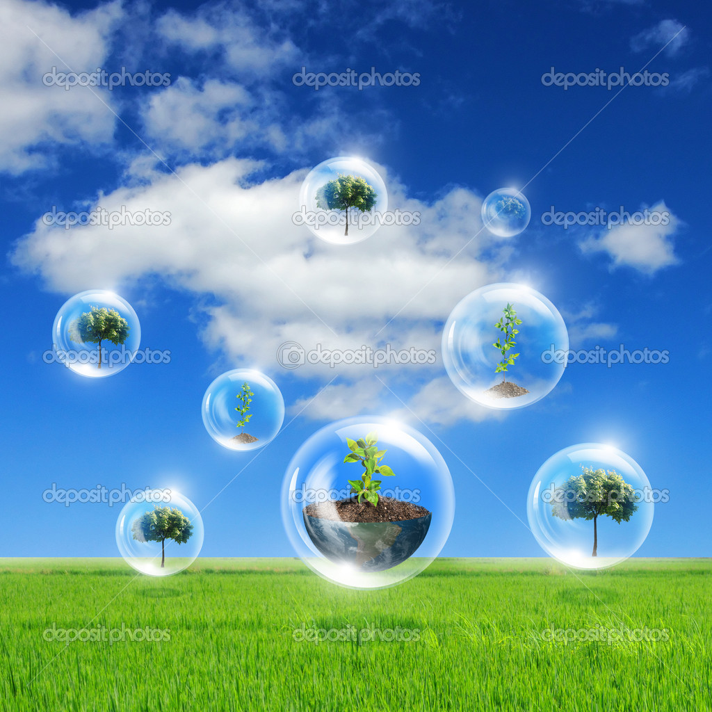 Illustration ofair bubbles with green plant inside as symbol of nature protection  Stock Photo #10064453