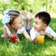 Little brother and sister in summer park — Stock Photo #10124557