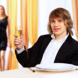 Young handsome msitting in restaurant — Stock Photo #10128190