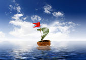 Nutshell ship with green leaf sail — Stock Photo
