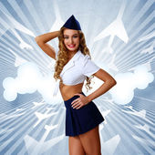 Hostes şapkası ile kadın retro tarzı — Stok fotoğraf