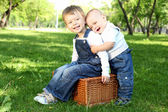 Two little brothers together in the park — Stock Photo