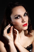 Studio portrait of young beautiful woman — Stock Photo