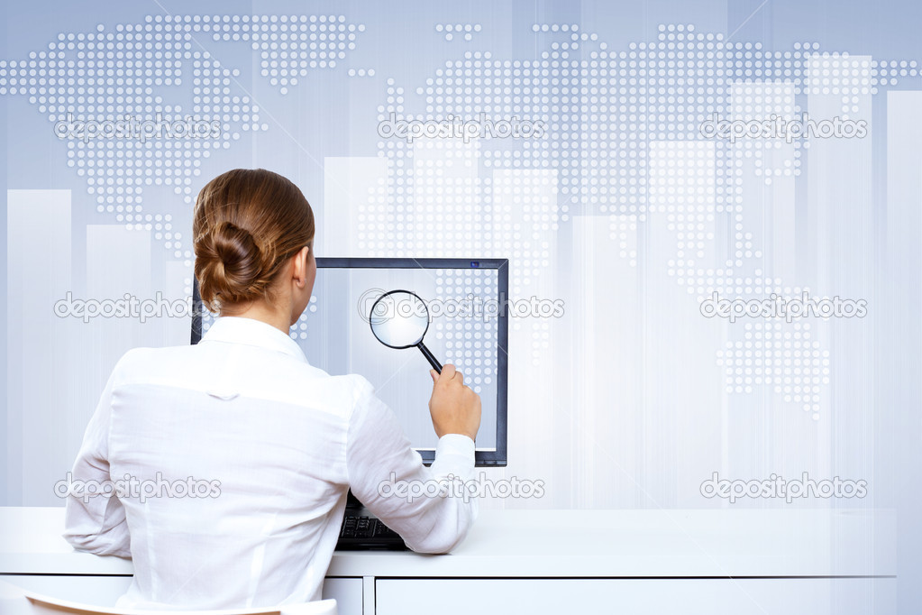 Business woman working with virtual digital screens — Stock Photo #10123809