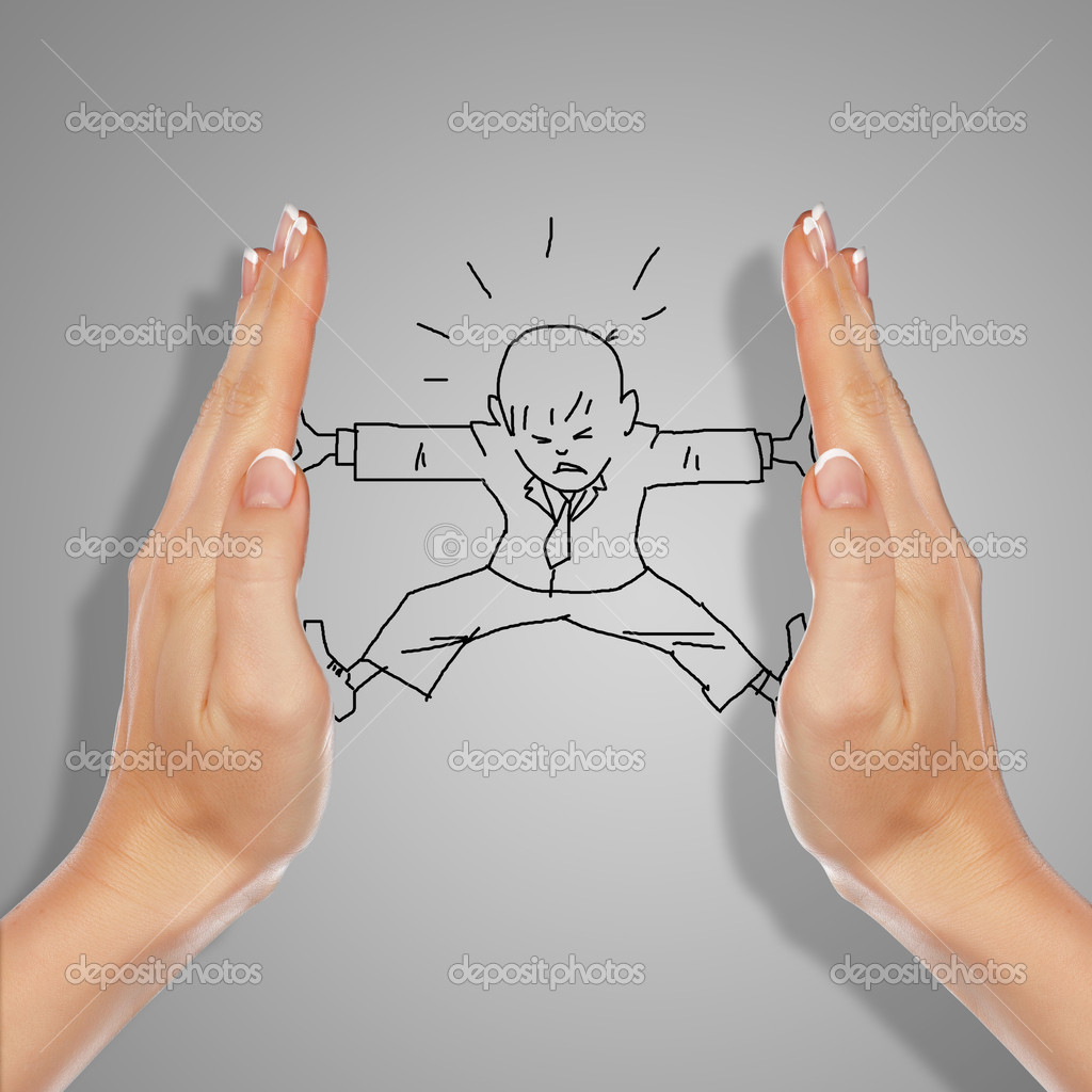 Drawing of a man in dangerous situation under threat — Stock Photo #10127575