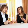 Couple in a restaurant with shampagne — Stock Photo #10259896