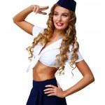 Woman retro style with stewardess cap — Stock Photo #10259971