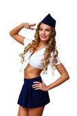 Woman retro style with stewardess cap — Stock Photo