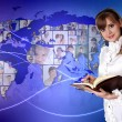 Young woman against world map background — Stock Photo #10260571