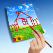 Stock Photo: House from white clouds against blue sky