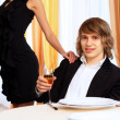 Young handsome man sitting in restaurant — Stock Photo #10268225