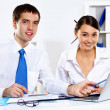 Two young business collegue in office — Stock Photo #10269032