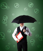 Businessman and weather — Stock Photo