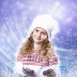 Cuty little girl in winter wear - Zdjęcie stockowe