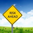 Road sign warning about risk ahead — Stock Photo #10271291