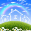 House from white clouds against blue sky — Stock Photo #10271302