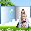 Collage with children and parents on green grass — Stock Photo #10271541