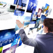 Stock Photo: Mworking with vurtial screens