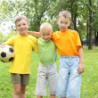 Boys in the park with a ball — Foto Stock
