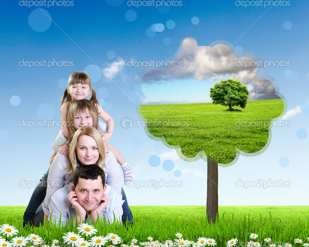 Collage with children and parents on green grass and under blue sky — Stock Photo #10271534