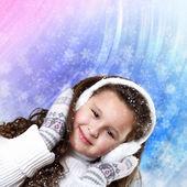 Yakın kış giyim, küçük kız — Stok fotoğraf