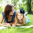 Portrait of mother and daughter in the park — Stock Photo
