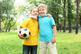 Boys in the park with a ball — Stock Photo