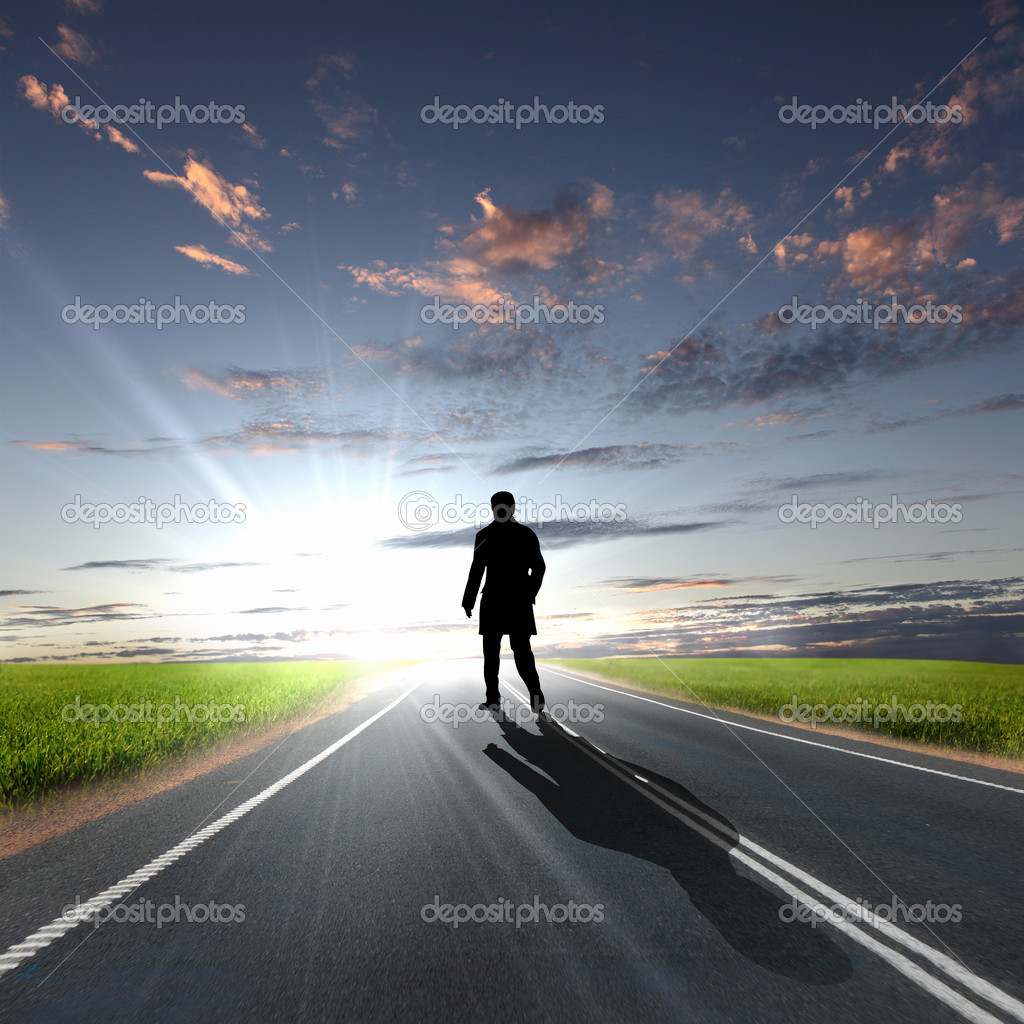 Collage with a human figure walking away along the coubtry road — Stock Photo #8041225