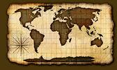 Gamla papper världskarta — Stockfoto