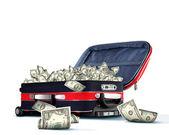 装满钞票的手提箱 — 图库照片