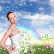 Woman against nature background — Stock Photo #8242194