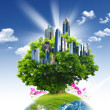 Stock Photo: Green planet against blue sky and clean nature