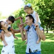 Stock Photo: Family with two children in the summer park